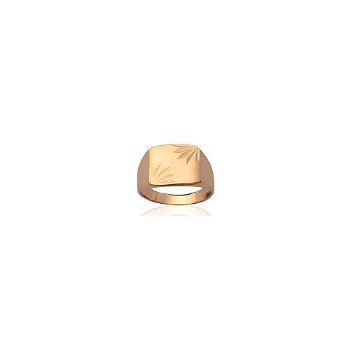 MARY JANE - Bague plaqué Or Femme/Homme - Larg:13mm / Haut:11mm - Plaqué or (Chevalière / Rectangle) - GRAVURE OFFERTE