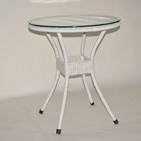 LLS 【軽量ラタン調テーブル屋内外使用可】60cm円形テーブル ホワイト B072M6RF2Qホワイト