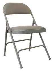 Industrial Grade 2W158 Steel Chair with Vinyl Padded, Beige