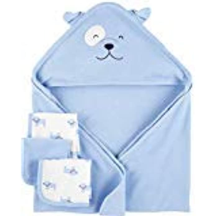 Child of Mine by Carters Carters Baby Hooded Towel & Washcloths Set, 4pc, Blue Dog