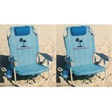 2 Tommy Bahama 2016 Backpack Cooler Chair with Storage Pouch and Towel Bar (Blue Weave & Blue Weave)