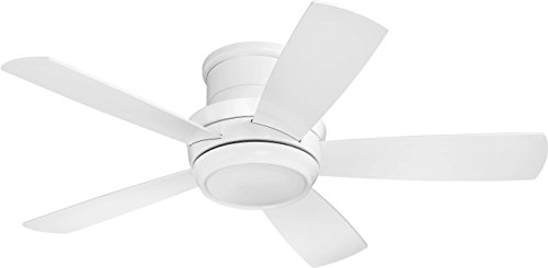 Flush Mount Ceiling Fan with LED Light and Remote by Craftmade TMPH44W5 Tempo 44 Inch White, Hugger Fan (Craftmade By Exteriors)