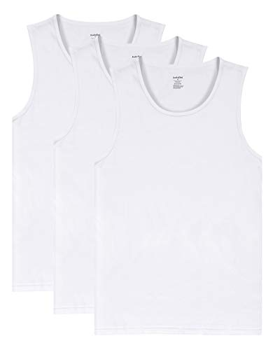 Indefini Men's Cotton Crew Neck Undershirts Sleeveless Tank Tops Fitted Shirts, 3 Pack of White - XL