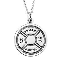 "jacob alex #40512 Barbell Pendant Fitness Gym Bodybuilding Muscle 18"" Necklace 925 Sterling Silver"