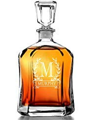 (Bormioli Rocco Capitol Decanter 23.75 Oz - Engraved Monogram Personalized)