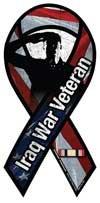 Salute Iraq War Veteran Mini Ribbon Magnet ()