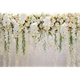 HUAYI 10x8ft White Flower Backdrop Curtain Floral 3d flower Wedding Party Background Photo Backdrop for wedding reception Baby shower Photo Booth Props Xt-6749 for $<!--$31.90-->