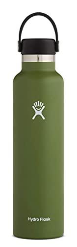 Hydro Flask Trinkflasche 709 ml (24 oz), Edelstahl und vakuumisoliert, Standard-Öffnung mit auslaufsicherer Flex Cap, Olive