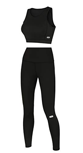 Women's High-end Sports Bra & Leggings 2 Piece Set - Workout Running Gear Kit - High Waist & Slimming - Opaque Yoga Pants Black