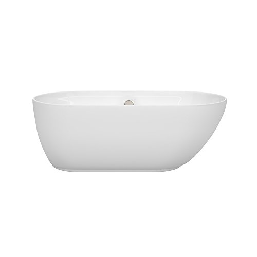 Wyndham Collection Melissa 60 inch Freestanding Bathtub for Bathroom in White with Brushed Nickel Drain and Overflow Trim