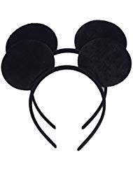 Set of 2 Mickey Minnie Mouse Ears Headband Boys and Girls Birthday Party Mom Hairs Accessories Baby Shower Headwear Halloween Party Decorations Costume Deluxe Fabric Ears with Dots Bow (Black) ()