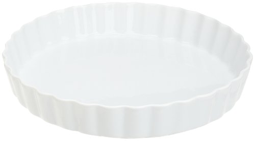 Honey-Can-Do 8018 Porcelain Quiche Dish, White, 10-Inches Diameter (Quiche Ceramic Dish)