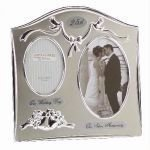 """Two Tone Silverplated Wedding Anniversary Gift Photo Frame - """"25th Silver Anniversary"""""""