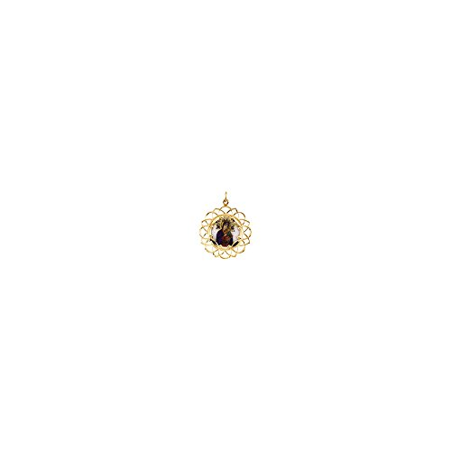 10K Yellow Gold 25.75x25.75mm Our Lady of Perpetual Help Framed Enamel Pendant
