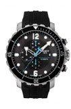 Tissot Seastar Black Dial SS Silicone Chrono Auto Men's Watch T0664271705702