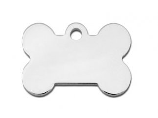 Premium Polished Metal Collection Bone Shape Personalized 2 Side Custom Engraved Pet ID Tags! (Polished Chrome, Small (1.187