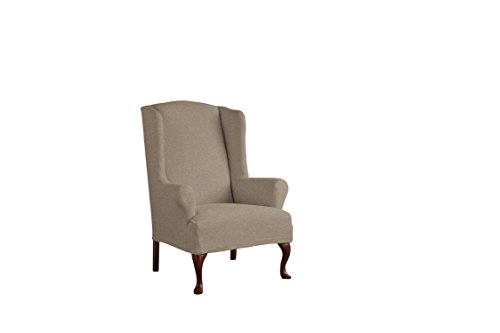 Serta 1 Piece Reversible Stretch Suede T Wingback Chair Slipcover, Chocolate Herringbone/Chocolate Solid (Chair Tall Wing)