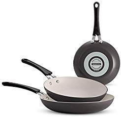 Tramontina Ceramic-Reinforced Nonstick Fry Pans, Set of 3 Made in the USA (Gray)