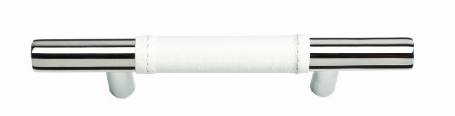 (Atlas Homewares 280-WT/CH Zanzibar Collection 5.35-Inch Leather Pull, Polished Chrome)
