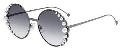 (Fendi Women's Round Pearl Frame Sunglasses, Dark Ruthen/Dark Grey Gradient, One Size)
