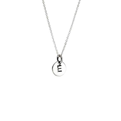 apop nyc Sterling Silver Mini Alphabet Disc Pendant, Letter L, 14 inch Necklace ()