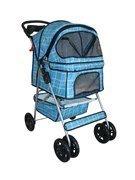 BestPet Grid 4-Wheel Pet Stroller, Classic Blue