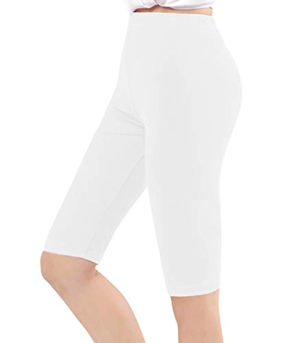 (Century Star Women's Modal Over The Knee Length Smooth Short Plus Size Elastic Comfortable Waist Sport Leggings Pure White US XL-US 1X Plus)