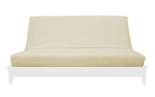 (Prestige Furnishings Premium Chenille Futon Cover w/Zipper - Samantha Collection - Solid Cream - Handmade in USA - Full Size (54