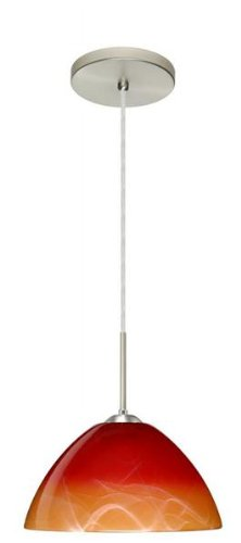 Besa Lighting 1JT-4201SL-LED-BR 1X6W GU24 Tessa LED Pendant with Solare Glass, Bronze Finish