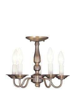 Livex Lighting 5011-01 Williamsburg 5-Light Convertible Hanging Lantern/Ceiling Mount, Antique Brass Antique Brass Williamsburg 1 Light