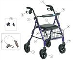 Front Wheel Kit with Hardware for Four Wheeled Rollator