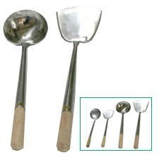 Heavy Gauge Stainless Hand-Tooled Commercial Chuan (Spatula) and Hoak (Ladle) Set by Wok Shop