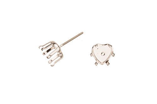 Heat Shape Snap-On Ear Stud Silver Plated Brass Fits 8mm Cabochons And Crystal With Surgical Stainless Steel Pin 8X8mm sold per 8pcs/pack (3pack bundle), SAVE $2 ()