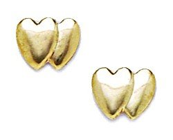 14k Yellow Gold Large Entwined Heart Stamping Earrings - Measures 7x8mm - JewelryWeb