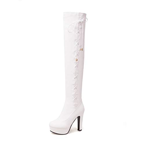 T-JULY Women's Sexy Platform High Heels Winter Shoes Fashion Round Toe Over-The-Knee Boots Plus Size 34-50 White