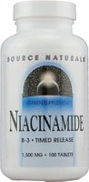 Source Naturals Niacinamide 1500mg Vitamin B-3 Timed Release Energy Support - 100 Tablets