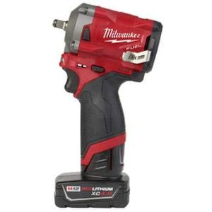 Milwaukee 2554-22 M12 FUEL 12-Volt Lithium-Ion Brushless Cordless Stubby 3/8 in. Impact Wrench Kit with One 4.0 and One 2.0Ah Batteries