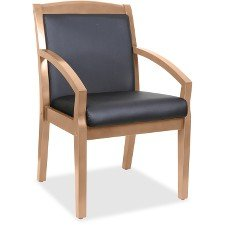 Lorell 20025 Sloping Arms Wood Guest Chair, Walnut, Black