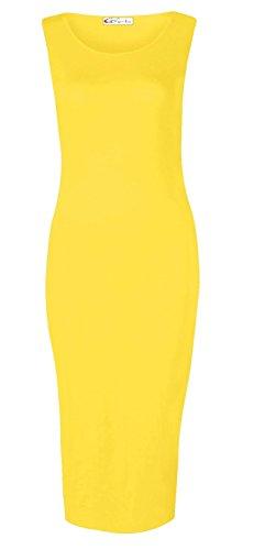Crazy Girls Women's Sleeveless Scoop Neck Slim Fit Midi Dress