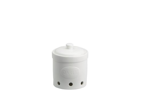 The Drh Collection BIA Embossed White Pottery Garlic Cellar - White Keeper Garlic