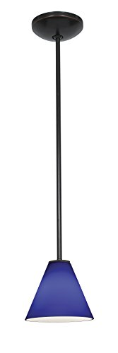 Martini Wall Fixture - Martini Glass Pendant - Rods - Oil Rubbed Bronze Finish - Cobalt Glass Shade
