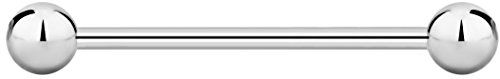 Straight Barbell 14g - 14g 25mm Internally Threaded Surgical Steel Straight Barbell Body Piercing Jewelry, 5mm Balls