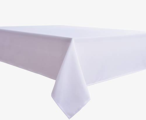 Biscaynebay Fabric Table Cloth, Water Resistant Spill Proof Tablecloths for Dining, Kitchen, Wedding and Parties (70 X 70 Inches Square, White)