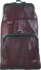 Lambskin Zippered - Burgandy Lamb Skin Leather Cigarette Case with Pouch and Lighter Holder
