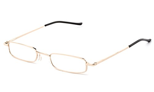 Newbee Fashion - Pocket Readers Ultra Compact Spring Temple Reading Glasses w/ Portable Pocket Clip Aluminum Case Gold Gold