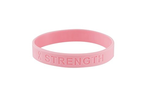 Pink Ribbon Breast Cancer Awareness Silicone Bracelet (Strength) (1 Pack) (Pink Ribbon Bracelets)