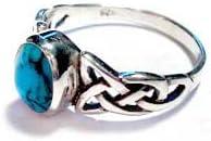 Celtic plata bolitas azul piedra conjunto anillo con diseño de Trinity nudo en los hombros