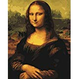 [Wooden Framed] DoMyArt Diy Oil Painting, Paint By Number Kit- Worldwide Famous Painting Mona Lisa Smile By Leonardo Da Vinci 16X20 Inch -