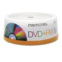 * DVD+RW Discs, 4.7GB, 4x, Spindle, Silver, 25/Pack