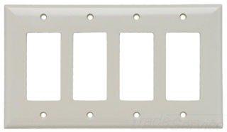 Eaton 2064LA Mid-Size 4-Gang Thermoset Decorator Wall Plate with Box, Light Almond Finish